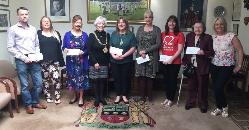 Mayor of Carlisle, Jessica Riddle and the charity recipients