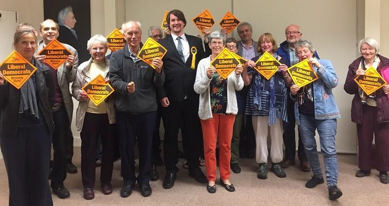 New Parliamentary candidate Matthew Severn alongside local Lib Dem members