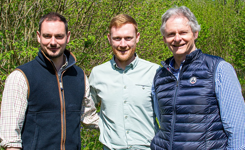 Jamie and Edwin Atkinson of JT Atkinson (left and right) with Michael Devlin from Yorkshire Dales Millennium Trust.