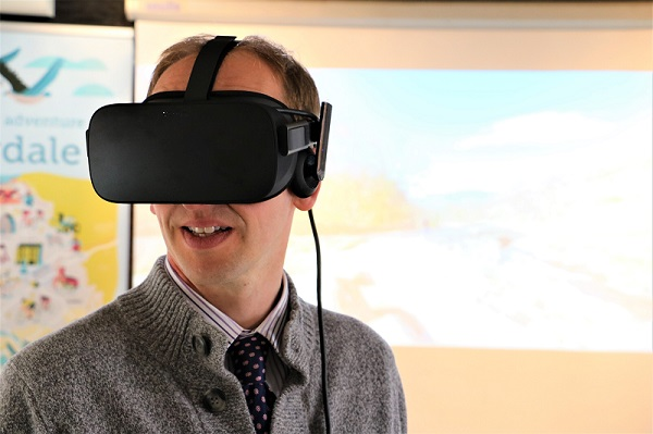 Joe Broomfield takes part in a virtual reality demo