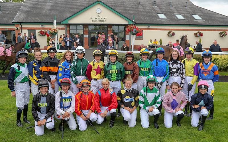 Jockeys pictures head of 2018 Ladies Night meeting at Carlisle Racecourse. Credit Grossick Racing Photography