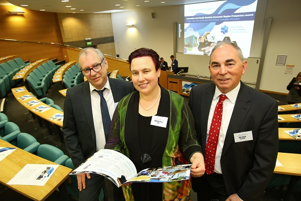 Councillor Derek Brook, chairman of Barrow Borough Council's Executive Committee; Councillor Dr Erica Lewis, Leader of Lancaster City Council; and Councillor Giles Archibald, Leader of South Lakeland District Council; with the Lancaster and South Cumbria Economic Region prospectus