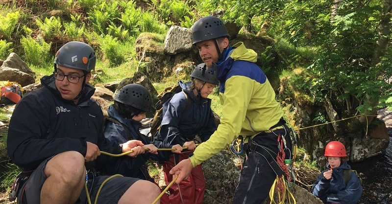 Leo Houlding with pupils from Knox Academy