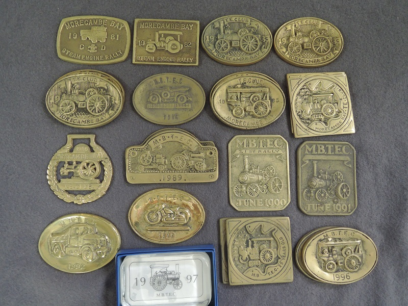 Lot 398 (estimate £20-30) A collection of vintage local steam rally and gathering brass keepsakes including Morecambe Traction Engine Club