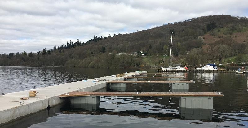 Low Wood Bay Marina new pontoons during construction