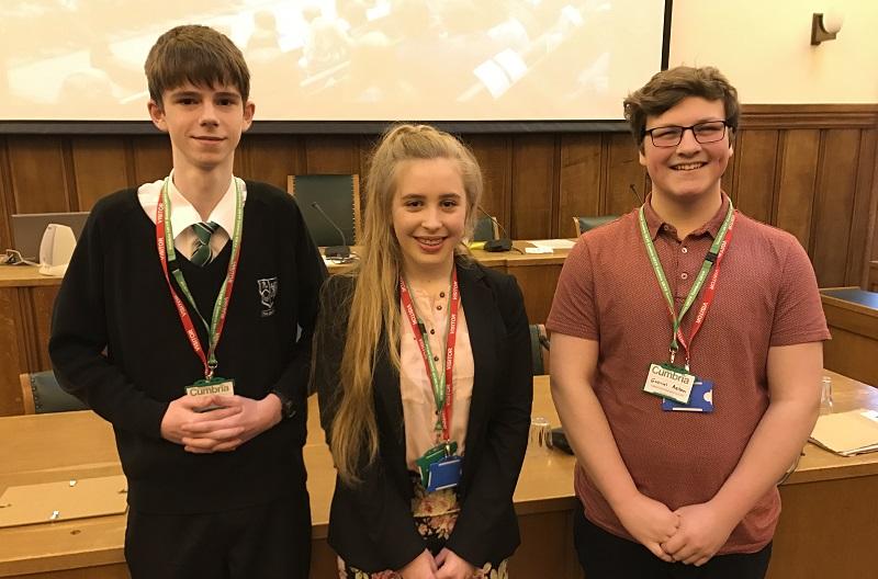 Cumbria MYP's L-R: Reece Hammond, Elspeth Dennison, Gabriel Aston