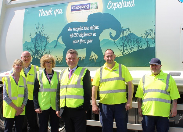 L-R: Recycling officer Jan Boniface, Waste Team Leader Geoff Eilbeck, Community Services Manager Janice Carrol, Mayor Mike Starkie, Andrew Graham (Waste Operative) and John Agnew (Waste Operative).