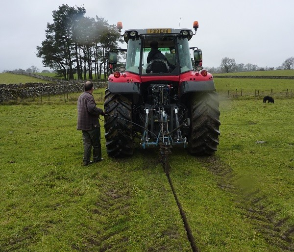 Mole ploughing in the cable
