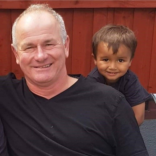 Johnny Redhead is pictured with his grandson Frankie