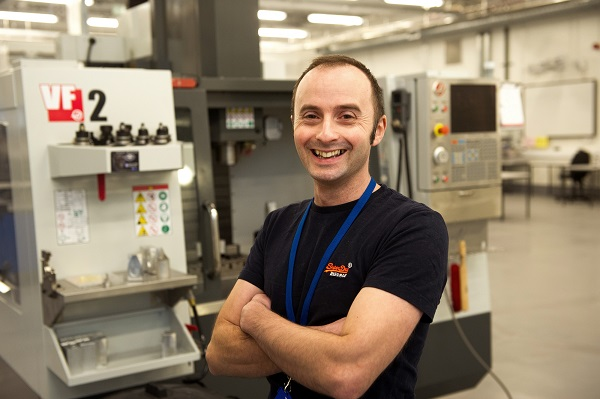 Orsted scholarship recipient Paul Bland in the Advanced Manufacturing and Technology Centre at Furness College