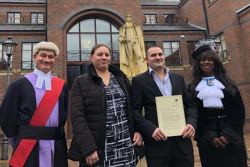 Patrik Stephens-Talajka and wife Natalie outside Carlisle Crown Court with Judge Nicholas Barker and Cumbria's High Sheriff