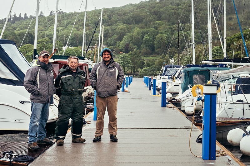 Paul Brown, Steve Hoggarth & Dan Wilson from Low Wood Bay Watersports Centre on the new marina