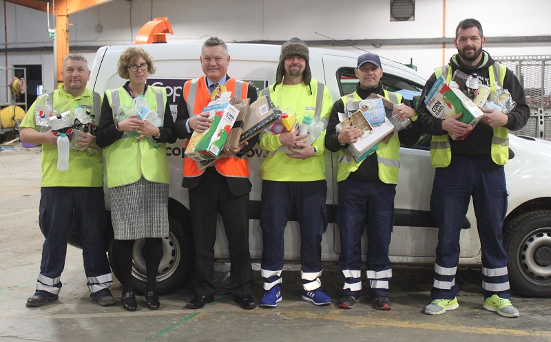 L-R: Gary Murray - waste team member, Janice Carrol – Waste & Enforcement Manager, Mike Starkie – Mayor of Copeland, Darren Taylor, Pete Thompson and Graeme Park all waste team members