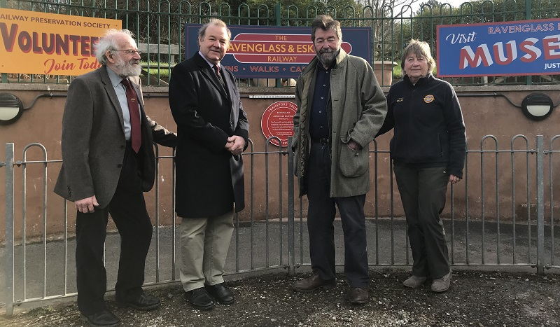 Eric Robson unveils the 1st Red Wheel Plaque for Cumbria at Ravenglass & Eskdale Railway on Saturday 23 February