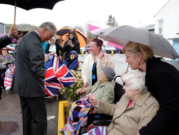 Residents of the Abbey meeting Prince Charles in Staveley
