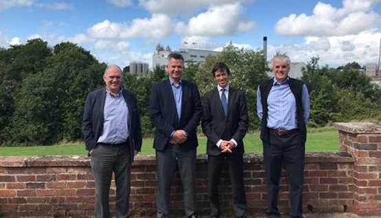 L-R: Andrew Bayliff, Global R&D Director, Wayne Middleton, MD UK, Rory Stewart, Minister of State for Courts and Justice, David Beeby, Ex CEO, Innovia Group.