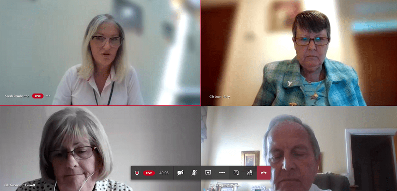 Among those attending the virtual council meeting are: Top left, Sarah Pemberton (Copeland Council's Monitoring Officer); Top right, Councillor Joan Hully (Chair); Bottom left, Councillor Gwynneth Everett; Bottom right, Councillor Doug Wilson