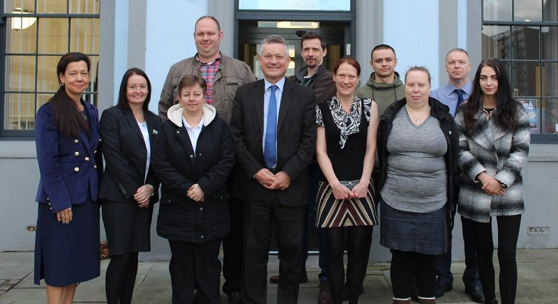 Members of Copeland Council's latest Work Academy: Firouzeh Madhoush, Reagan Skipper, Fiona Thompson, John Story, Jennifer Topliss, Jack Blackwell-Stagg, Amy Hindmarsh, and Katie Chapman, with Mayor Mike Starkie, employers Stephanie Skelly (Georgian house Hotel), Stephanie Eilbeck Summergrove Halls and Craig McLeod (Summergrove Halls), and Copeland's Work and Skills officer, Chris Pickles.