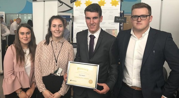 St Benedict's Students pictured with their award. L-R Meagen Byers, Grace Park, Joseph Brennan & Joe Moore