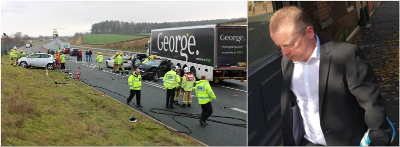 The scene of the crash (photo @CumbriaRoadsPol Twitter) and Roy Cothill outside the court
