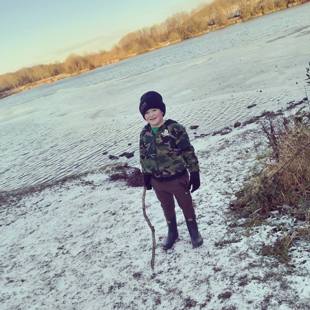 Tye Coulter age 6 on his walks around longlands lake