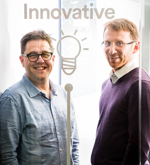 United Utilities Head of Innovation Kieran Brocklebank (left) and Typhon's Managing Director Matt Simpson