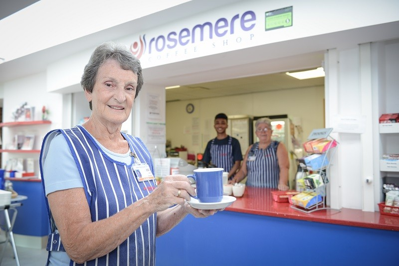 Creaming off its profits for Rosemere Cancer Foundation, the Rosemere Coffee Shop within Rosemere Cancer Centre, which is staffed by volunteers, among them Angela Russell (front) and Junayd Rashid and Tanja Wainford