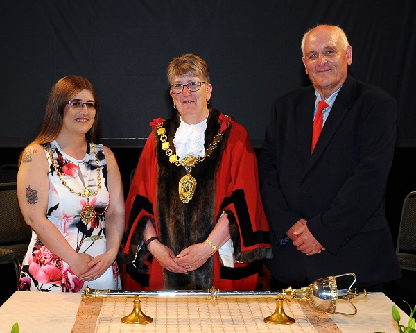 Last year's ceremony: Cllr Ann Bales (2017-18 Mayor of Workington) and her Mayoress, Ms Nicola Bales, and Consort, Cllr Peter Bales. Photo Jim Davis.