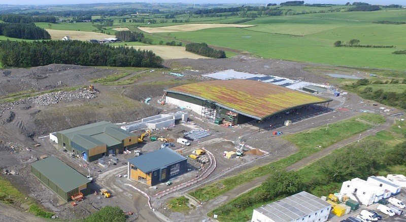 Aerial view of new water treatment works being built at Williamsgate. Careful landscaping, including a green roof, is helping mask views of the new plant from the Lake District National Park