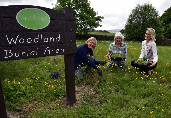 Jackie Hodson and Sheila Wyatt from the Friends of Alston Cemetery Group and Eden District Council Officer, Vicky Percival planting wild flowers within the Woodland Burial area at Alston Cemetery.