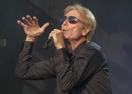 Sir Cliff Richard hits the stage at Cartmel Racecourse. Photo Milton Haworth
