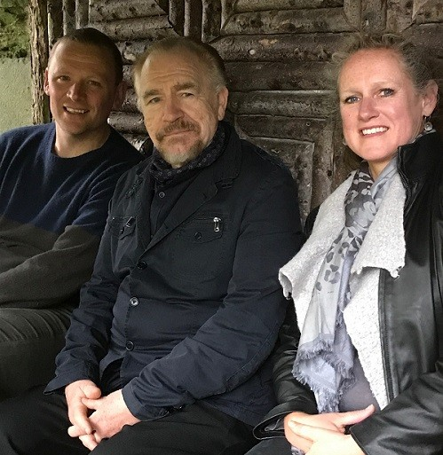 Charlotte Wontner pictured with actor Brian Cox, and Christopher Wordsworth, at Rydal Mount