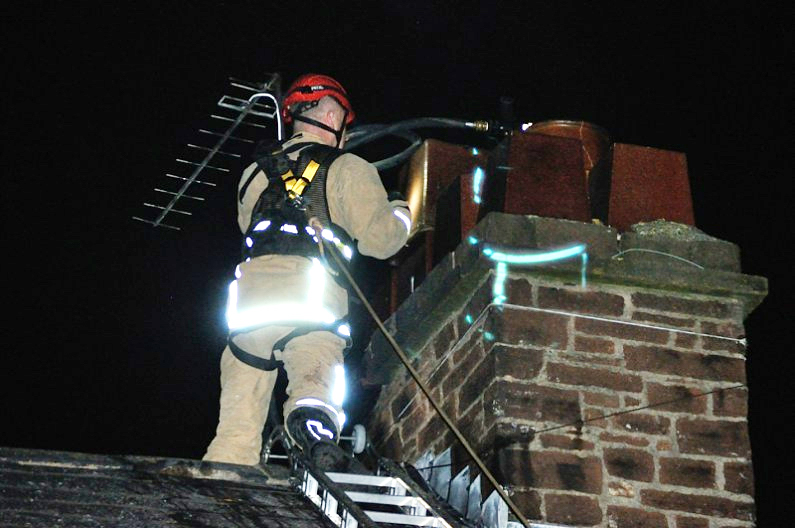Firefighters tackle a chimney fire in Penrith