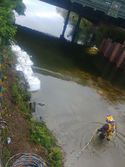 A diver under Victoria Bridge