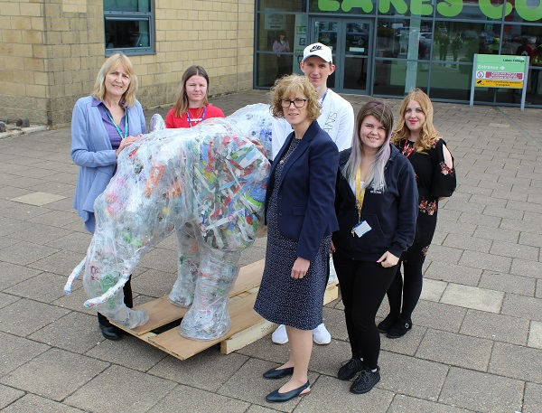 Lakes College students Jason Brockbanks, Dalatia Sutcliffe and Alanah Fell-Johnson with tutor Jenna Grears, artist Sue Jackson and Copeland's Community Services Manager, Janice Carrol and the elephant sculpture