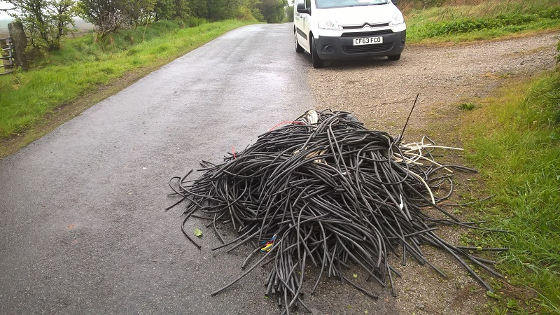 Fly-tipping on the road between Pica and Asby