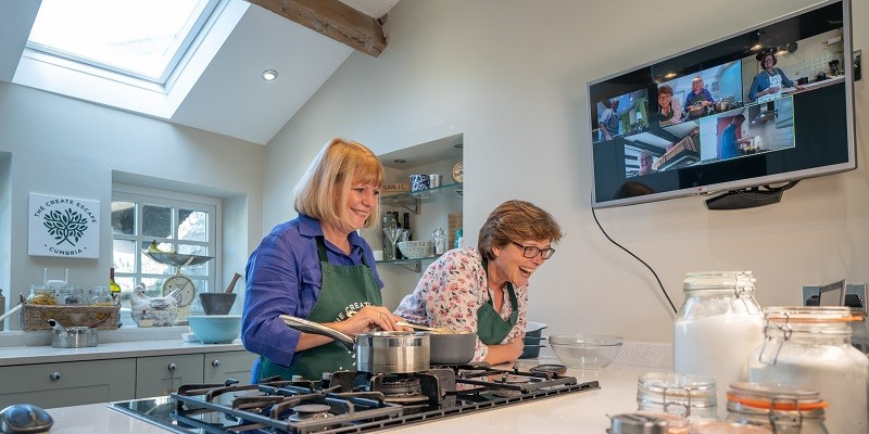 L-R: Cooks, Angela Favell and Deborah Clark are confident of creating a recipe for happiness by offering online farmhouse cookery workshops. Credit Victoria Sedgwick