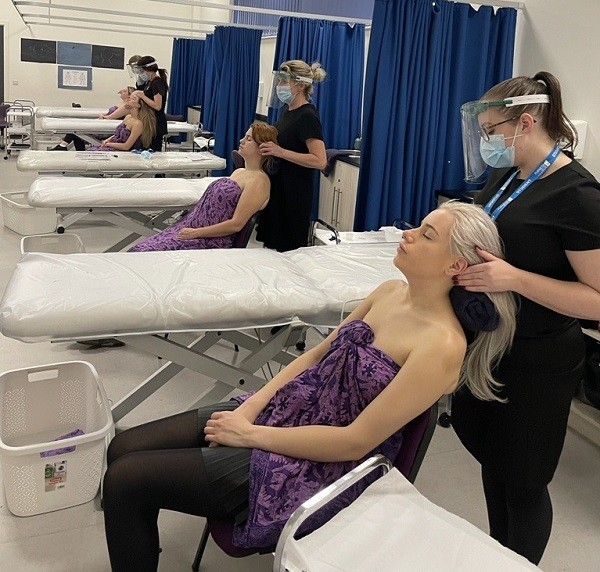 Salon staff are learning Indian Head Massage at Furness College during lockdown