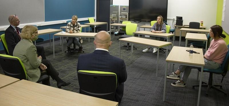 Chief Inspector Amanda Spielman, Lakes College Principal Chris Nattress and Senior HMI Paul Cocker speak to students