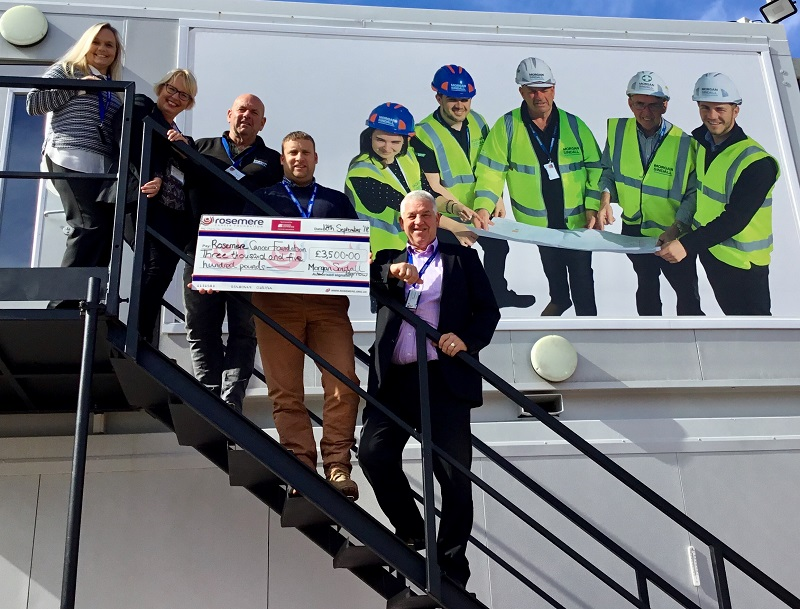 A constructive relationship – Morgan Sindall staff present Rosemere Cancer Foundation's Cathy Skidmore, second from the left, with money raised to date. From the left are office manager Tina Crawford, senior site manager Chris Higham, construction manager Noel Talbot and project director John Stephenson