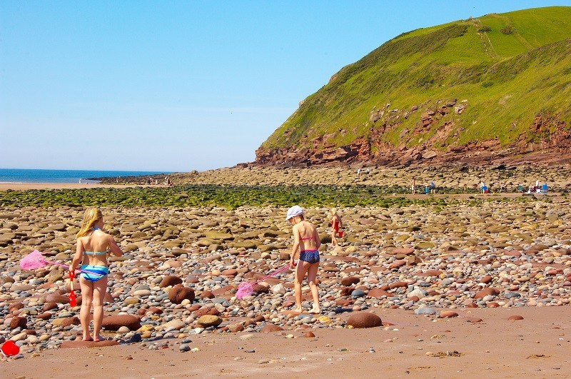 Bathers at St Bees beach
