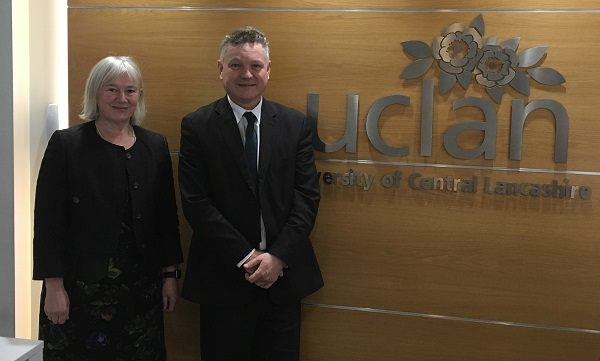 Mike Starkie and Cathy Jackson at the the University of Central Lancashire's Westlakes Campus