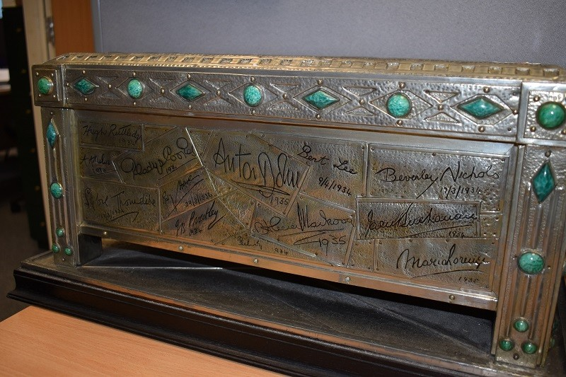 The jewelled casket covered in a time capsule of autographs of famous people from the 1930s.
