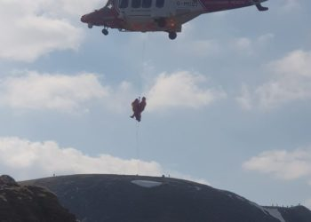Patterdale Mountain Rescue Team were contacted by Cumbria Police at 14:00 on Saturday 17/04/2021 to go to the aid of a 60 year old man from the North East who had slipped whilst traversing Striding Edge, injuring his ankle