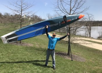 Adrian Angell with his paddleboard, who now lives in the US but will be heading over to Cumbria in June to paddleboard all the major lakes in the Lake District to raise money for Diabetes UK