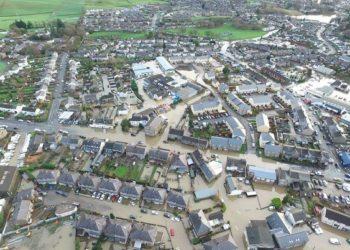 Floods in Kendal after Storm Desmond. Credit Hovershotz