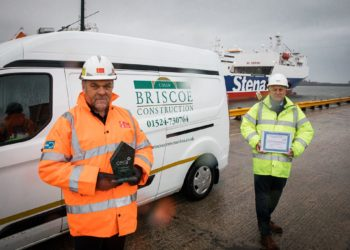 Pictured at Port of Heysham with the awards won by CBC are (from left): Steve Honeybone, Peel Ports' Projects Manager, and Anthony Butts, CBC Construction Director