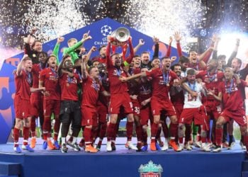 Liverpool players pictured during the award ceremony held after the 2018/19 UEFA Champions League Final between Tottenham Hotspur and Liverpool FC