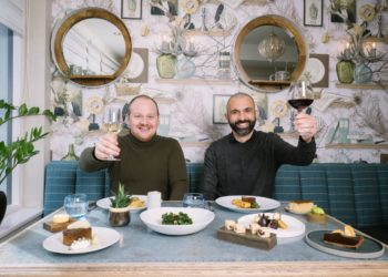 Head chef and general manager, Phil Corrie and Portuguese 'Wine Guy' Nuno Malo raise a glass to 1863 reopening