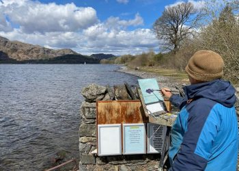 Artist Chris Slater at Coniston Water